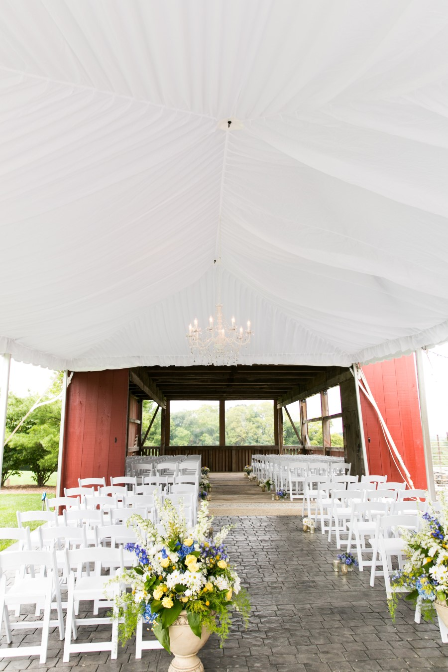 Ceiling Liner in a 20'x30' Frame Tent at the Farm at Eagles Ridge, Photo by Brittney Kreider Photography