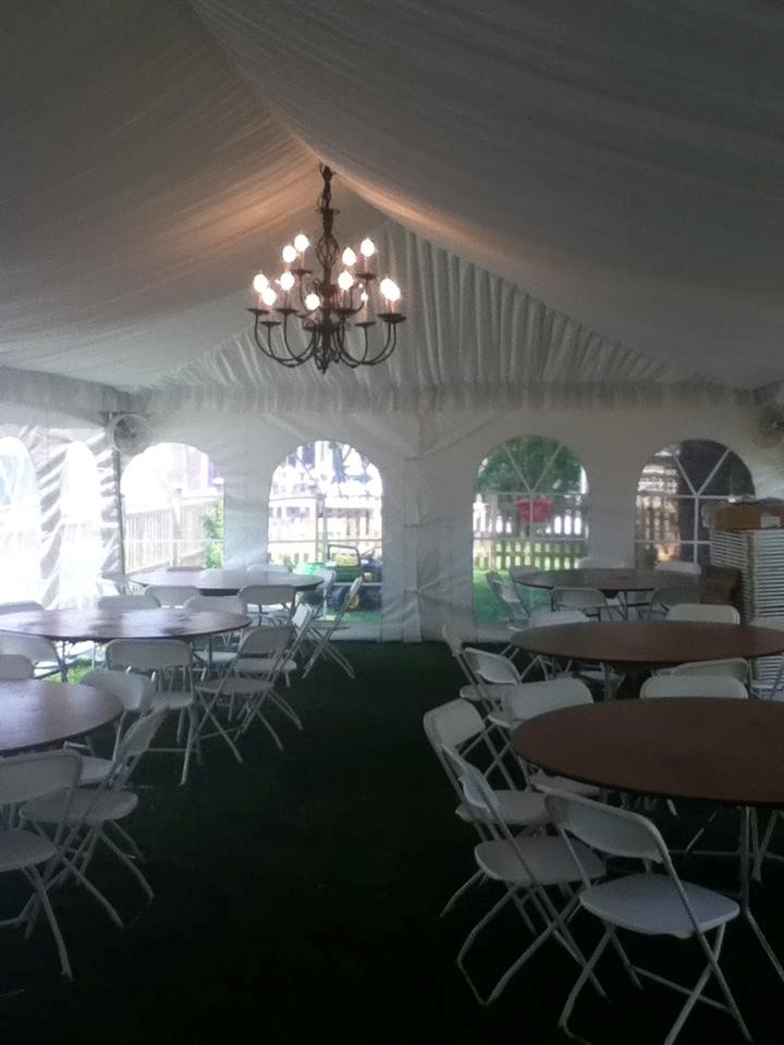 Chandelier and Liner in a 20'wide frame tent series