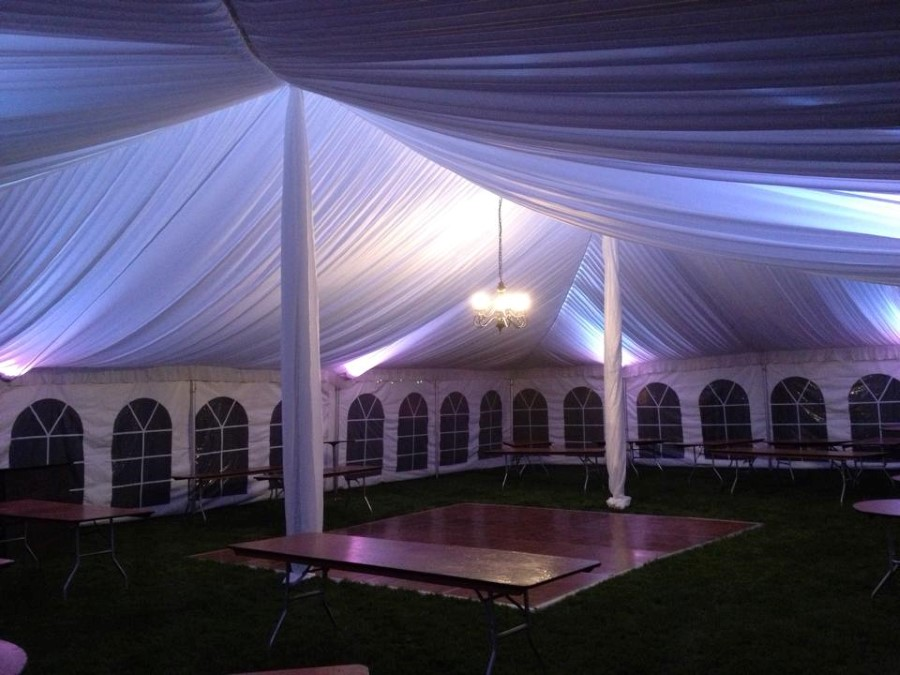 40' x 60' Pole Tent With Fabric Liner, white LED Lighting and fabric center pole covers