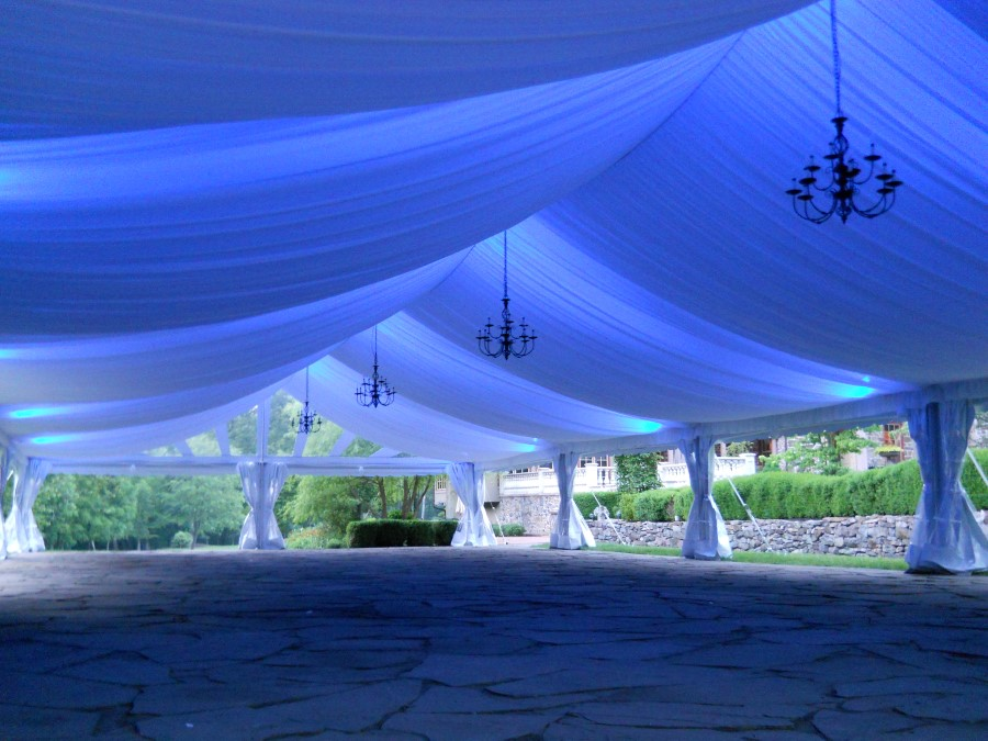 40' Wide Frame Tent with Fabric Liner and LED Lighting