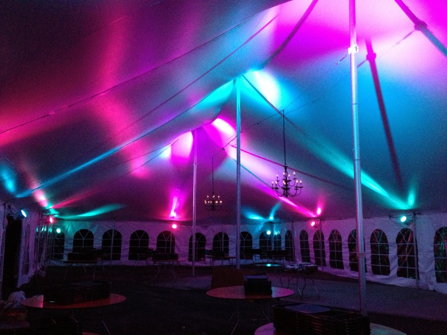 Black Arm Candelabra Chandelier with pink and blue LED Lighting in a 40'x80' Pole Tent