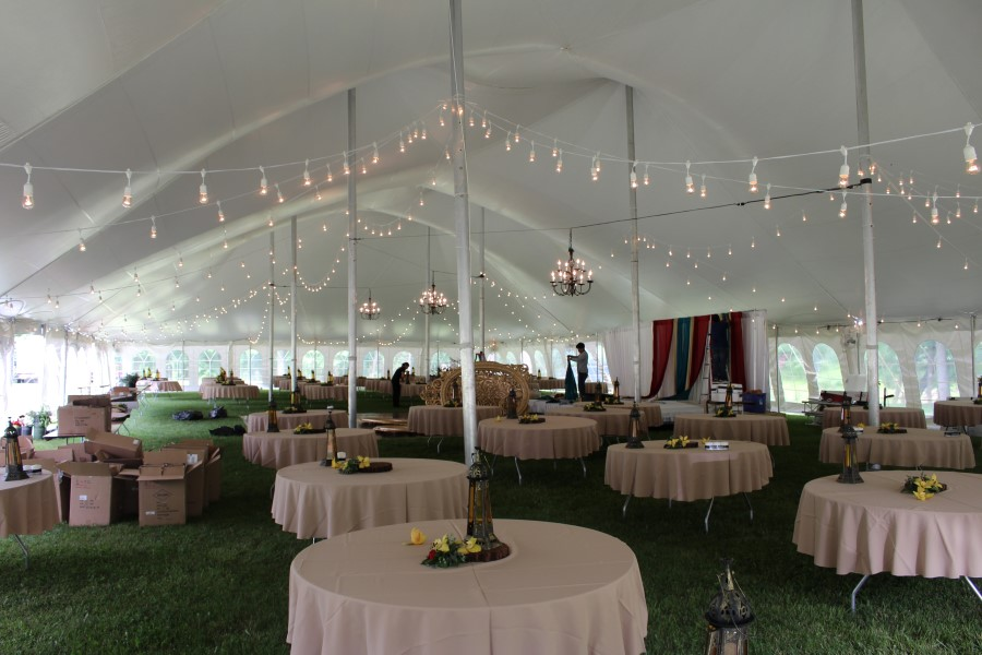 Cafe Lighting with Black Candelabra Chandeliers in a 60'x130' Pole Tent