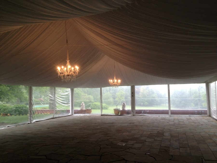 Crystal Candelabra Chandeliers with Fabric Ceiling Liner at Drumore Estate
