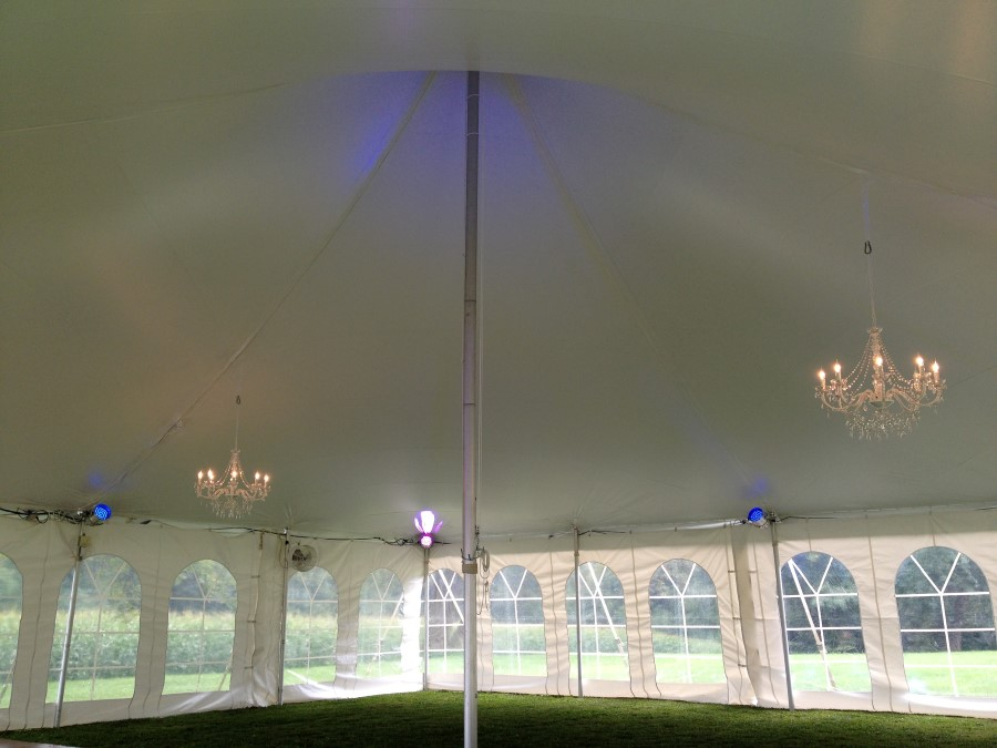 Daytime Photo of LED Lighting with Crystal Chandeliers and No Fabric Liner