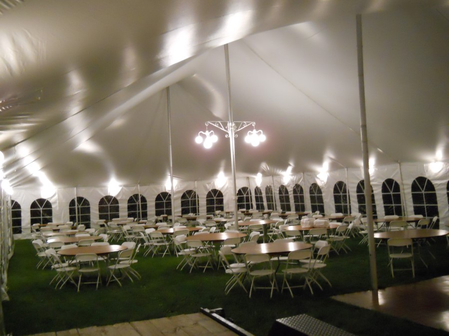 Fabric Liner with White LED Lights in a 40' Wide Frame Tent