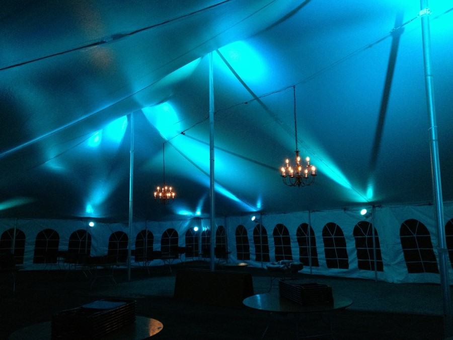 Teal LED Lighting with Black Candelabra Chandeliers and No Fabric Liner in a 40'x80' Pole Tent