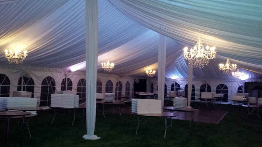 40 wide pole tent with fabric liner, LED lighting and candelabra chandeliers