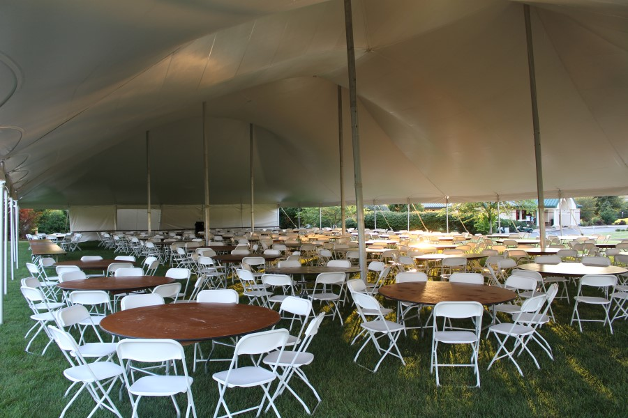 White Folding Chairs at 5' Round Tables