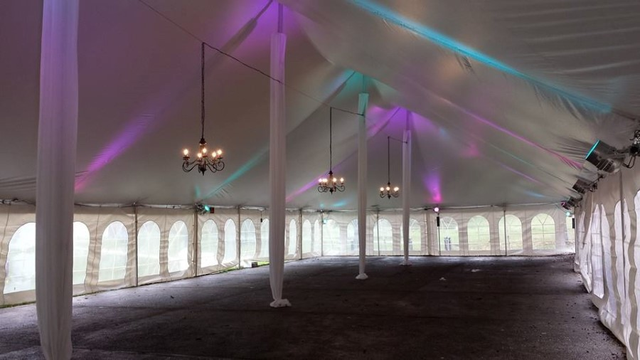 Pole Tent with Black Chandeliers and LED Lighting