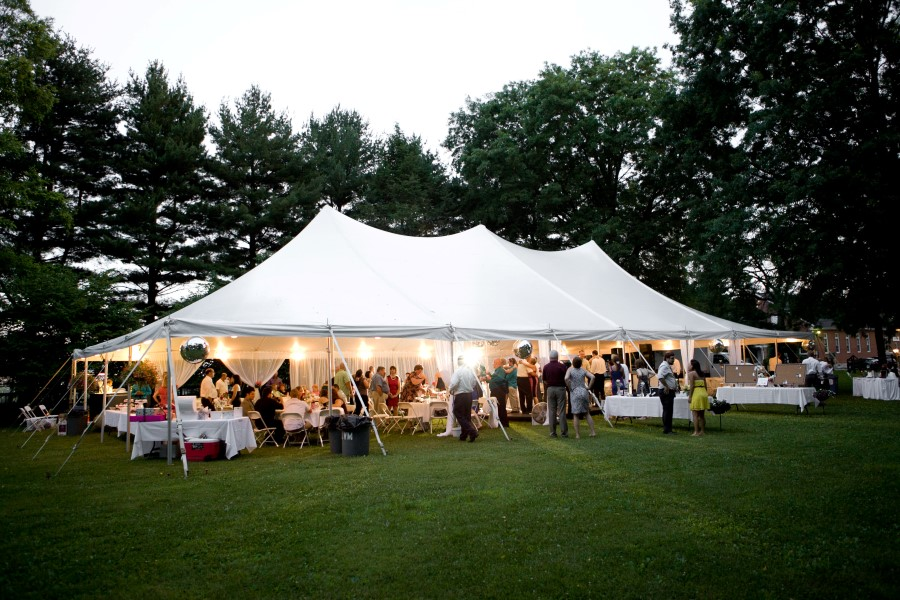 40' x 80' Pole Tent with Interior Perimeter Globe Lighting, Photo by Brittney Kreider Photography