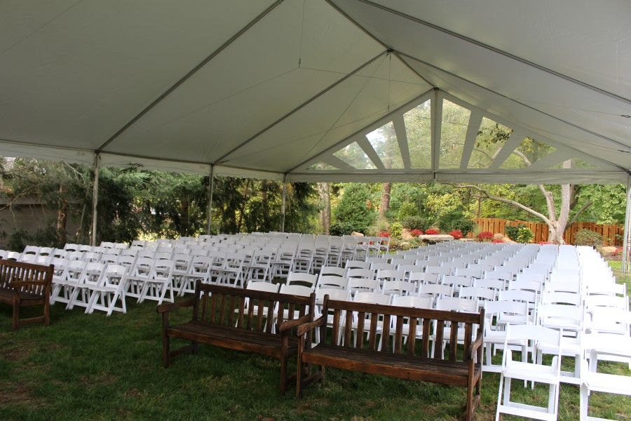 Wedding Ceremony Under a 40' Wide Gable Frame Tent